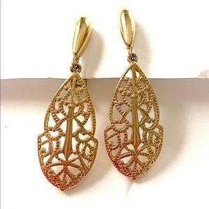 TRIFARI Gold Filigree Dangle Earrings Clip On